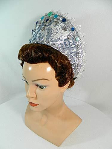 French Hood blau weiß Brokat Attifet Stuarthaube Haube Tudor Mittelalter Kokoshnik Jungfernkranz Prinzessin