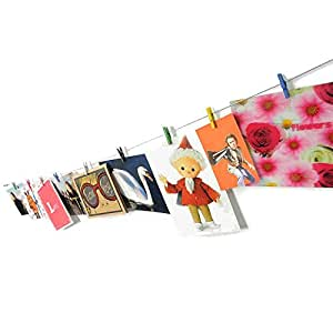 HAB & GUT (MC402) Fotoleine aus Stahl 120 cm mit 10 farbigen Mini-Holzklammern
