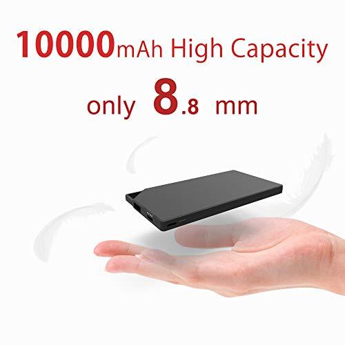 TNTOR 10000mAh Ladegerät, 8.8mm Ultra dünn Power Bank 2*Eingang[MicroUSB+TypeC]für Android iPhone SmartWatch [Schwarz]
