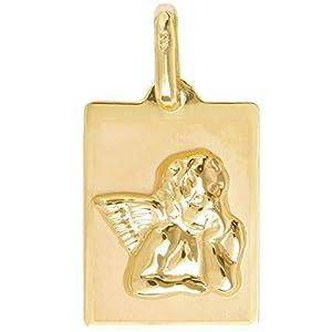 MyGold Schutzengel Anhänger (Ohne Kette) Gelbgold 333 Gold (8 Karat) Ohne Steine 18mm x 9mm Engel Engelchen Taufe Taufgeschenk Kommunion Goldanhänger Geschenke Für Kinder Angels Faith MOD-06684
