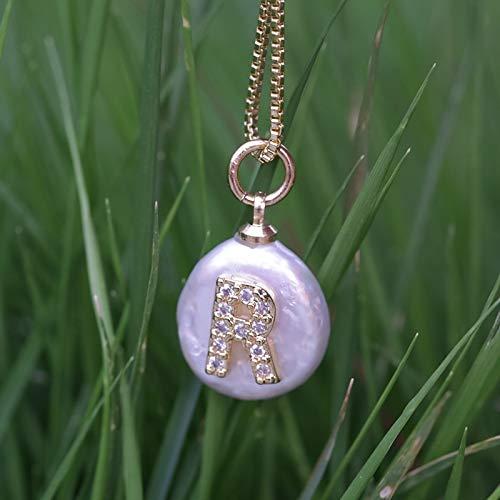 er Halskette, Zirkon Anhänger,Weiße Cz Initiale 26 Alphabet Buchstaben Name Weiße Münze Süßwasser Perle Gold Silber Charm Anhänger Choker Halskette Für Frauen ()