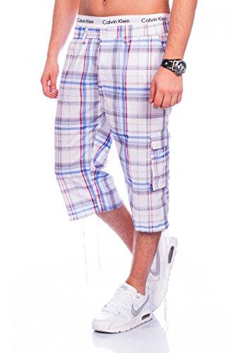 Max Men Herren Cargo Shorts Straight Fit · Wadenlange Sommer Bermuda · Karo-Design · 3/4 Cargoshorts · Freizeit Capri · Kurze Hose · Walkshort mit Dehnbund · kariertes Muster H1464,Blau-Grau,XXL