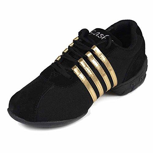 HROYL Damen/Herren Sneaker Tanzschuhe Moderne Tanzschuhe jazzdance Schuhe Fitness Halbschuhe Sportschuhe Turnschuh Modell T01 Schwarz+Gold