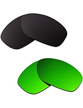 Hkuco Plus Mens Replacement Lenses For Oakley Pit Bull Black/Emerald Green Sunglasses
