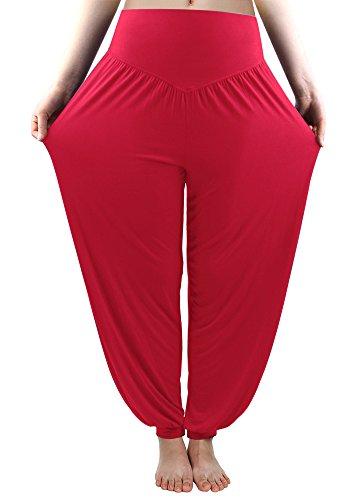 Fitglam Yogahose Haremshose Pumphose Baumwolle Yoga Pants Damen Rot (Viskose Aus Yoga-hose)