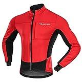 """MUCUBAL - Giacca da Ciclismo da Uomo, Antivento e Impermeabile, in Softshell Invernale, Termica, Traspirante, Uomo, Rosso, Chest 36-38""""-M"""