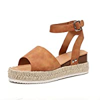 JOYTO Wedge Sandals Women Platform Summer Flat Open Toe Espadrille 5 cm Heeled Leather Ankle Strappy Buckle Fashion Comfy Casual Brown 40