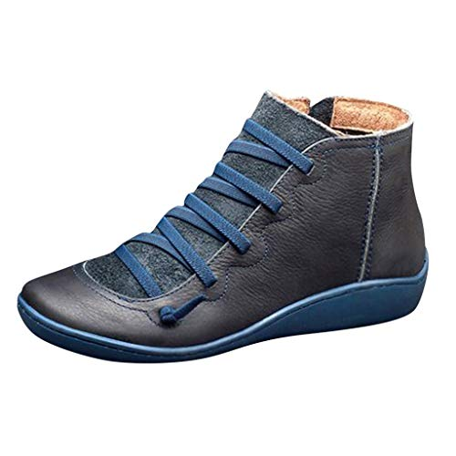 Ziyou Women's Casual Round Head Flat Leather Retro Lace-up Boots Side Zipper Round Toe Shoe Boots(37, Blau) -