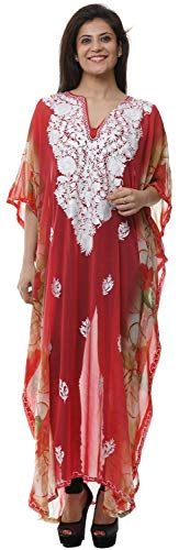 Odishabazaar Georgette Kashmiri Bestickte Damen Strandmode Badeanzug Bademode Kleid Caftan - Mehrfarbig - Einheitsgröße -