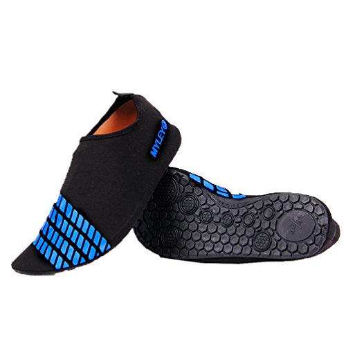 OUO Aqua Schuhe Unisex Strandshuhe Breathable Schlüpfen Schnell Trocknend Surfschuhe für Damen Herren Blau 02