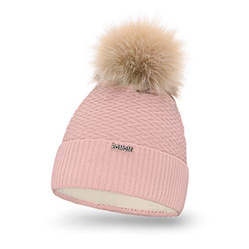 PaMaMi Damen Thermo Wintermütze | warme Strickmütze mit Bommel | Gestrickte weiche Bommelmütze | Slouch Beanie Hergestellt in EU | Farbenauswahl 18566 (Pink)