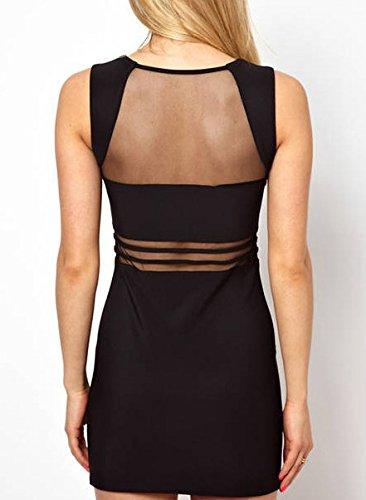 Frauen Kleid Cocktailkleid Partykleider Rundkragen Ärmellos Stitching Mit Spitze Rückenfrei Paket Hüfte Herbst Durchsichtig Dünn Schwarz