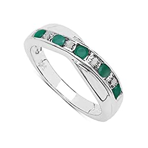 The Emerald Ring Collection: Beautiful Channel Set Emerald & Diamond Crossover Eternity Ring in Sterling Silver (Size I)