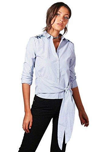 Femmes Bleu Tall Emily Embroidered Woven Shirt Bleu