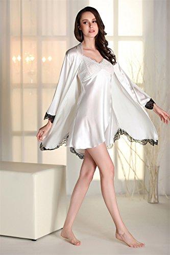 Kenmont Damen Bademäntel Morgenmantel Nachtwäsche kurz Kimono Negligee Unterwäsche Dessous Pyjamas Set Weiß