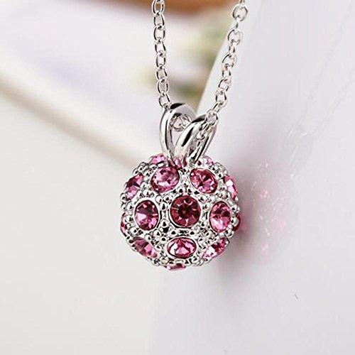 DUUMY Femmes Boule de Cristal de la Mode Avec la Chaîne Boîte à Bijoux Multicolores Clavicule pink