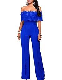 d2e09778109ef emmarcon Tuta Elegante Pantaloni Lunghi Jumpsuit Vestito Abito da Donna  Casual Scollo Bandeau