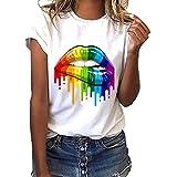 Siswong Maglietta Donna Elegante Maniche Corte Divertenti Vintage O-Collo T-Shirt Donna Estive Tops Bluse Camicetta Moda Camicie Tumblr Ragazza Magliette Donna con Stampa Labbro(Bianco,S)