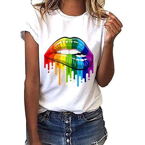 Fuibo Damen T-Shirt Große Größe Lippen Geste Print Kurzarm T-Shirt Tops Lose Kurze Schick TäGliches T-Shirt Rundhals Tunika (S, Weiß) -