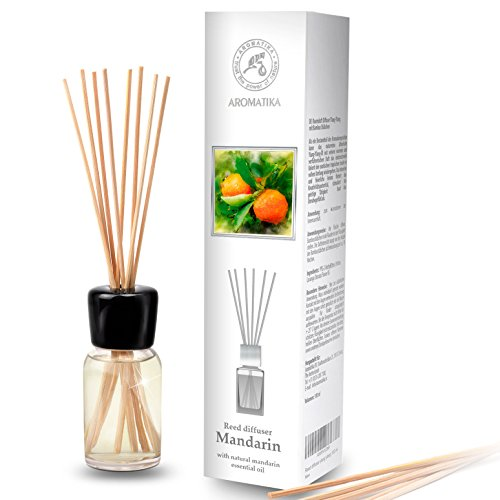 Difusor de Varillas Mandarín 100ml con 8 Palitos de Bambú - Aceite Esencial Puro Mandarín - 0% Alcohol - para Ambientador de Ambiente - Baños - Hogares - Aromaterapia - Difusor de Perfume