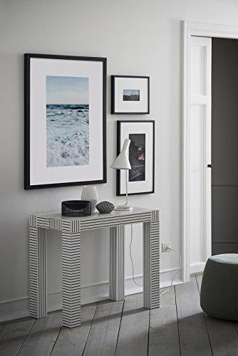 Icreo Atena Wiu Table / Console extensible Motif à impression numérique vernie et mate - De 46 à 306 x 90 cm et 75 cm de hauteur - en panneaux de particules mélaminés de qualité, avec 5 rallonges de 52 cm,réalisé en impression numérique, blanc avec rayures noiresProduit de design entièrement italien