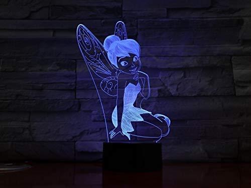 Prinzessin Tinker Bell 3D Nachtlicht Kinder Geschenk Led Tischlampe, 7 Farbe Touch-Schalter Schlafzimmer Nachttischlampe Kinder Geburtstag Weihnachtsgeschenk -