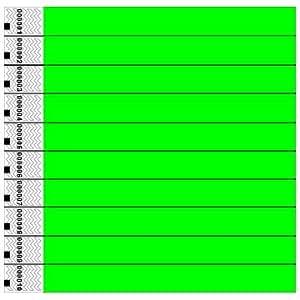 Tyvek Wristbands, Neon, Green, 100 Pack