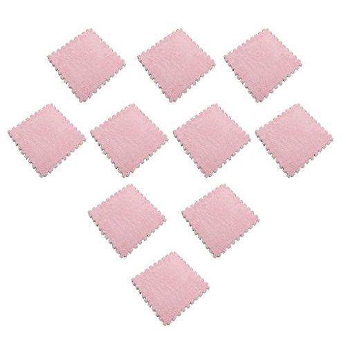 FLAMEER 10er-Set Plüsch Puzzlematte Bodenmatte Spielmatte Spielteppich, Farbwahl - Rosa - Eva-plüsch