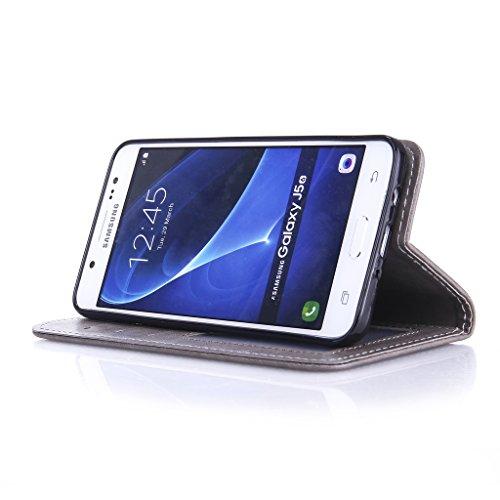 Fatcatparadise (TM) Custodia con design a flip per iPhone 5, 5S e SE, con protezione per schermo in vetro temperato, antigraffio, con retro morbido in silicone, stampa elegante di farfalla con fiori,  Grey