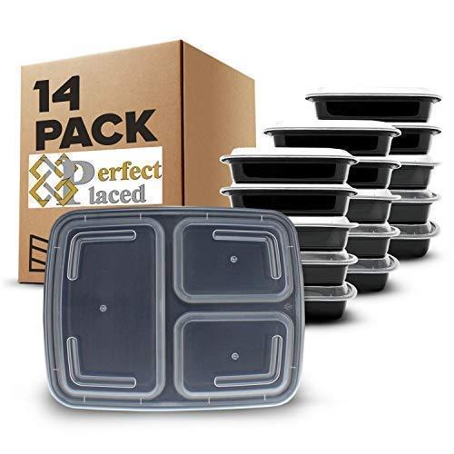 [14 pz] contenitori alimentari 3 scomparti per alimenti, senza bpa. lunch box riutilizzabili di plastica con coperchio. impilabili, adatti a congelatore, microonde e lavastoviglie. bento box + ebook