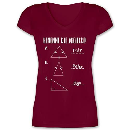 Lehrer - Benenne die Dreiecke! - S - Bordeauxrot - XO1525 - Damen T-Shirt mit V-Ausschnitt