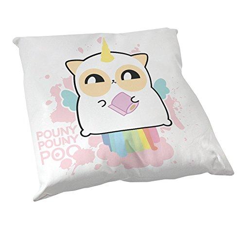 Coussin Décoration Fluffy chamalow : Pouny Pouny Licorne caca Arc en ciel pastel et papier toilette Rose chibi et kawaii - Fabriqué en France - Chamalow Shop