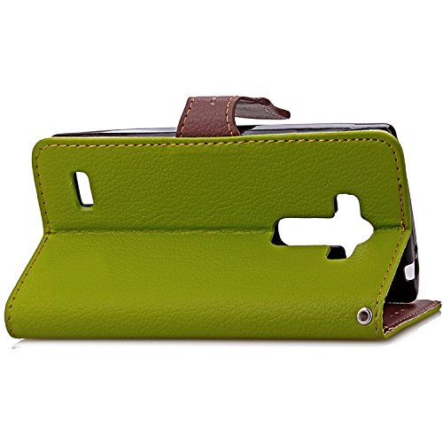 LG G4 Fall, LG G5 Fall, LG K7Case, K10 Fall-Abdeckung, Normallack TPU + PU Lederner Fall-Schlag-Standplatz-Fall-weiche Silikon-Abdeckungs-Mappen-Kasten-Abdeckung Für LG G4 Schlagen G5 LG K7 K10 ( Colo Green