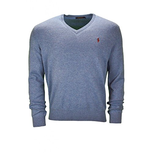 Polo Ralph Lauren Herren Pullover Merinowolle Sweater Meliert, Größe: XL, Farbe: Blau -