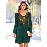 Vestido Pieza Bordada con Detalles de fantasía en el Escote by Vencastyle,Verde Botella,L