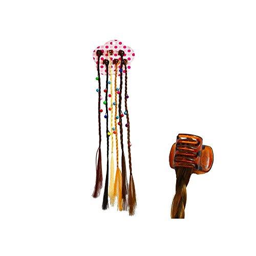 Lot de 6 pinces avec des mèches tresses et Perles cheveux synthétiques
