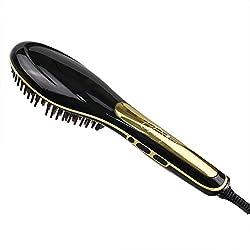 BeautyWill Multifunktionale Haarglättungsbürste, sofortiges glattes Haar, Anionen-Haarpflege Keramikglätteisen mit Verbrühschutz anti-statisch Haarmassage schwarz