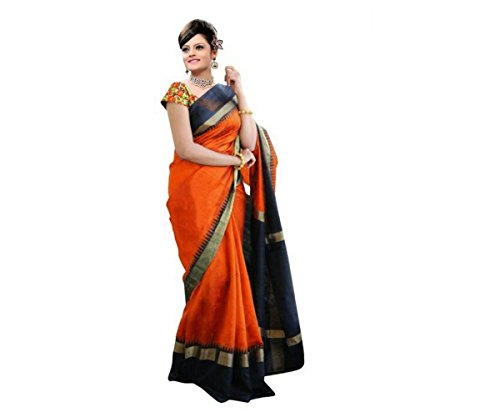 Shagun sarees women's georgette saree(orange & black)