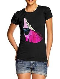 TWISTED ENVY Women's Princess Pug Premium Cotton T-Shirt