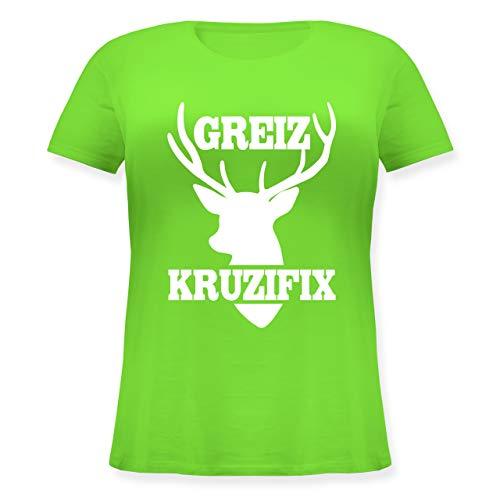 Oktoberfest Damen - Greiz Kruzifix - weiß - L (48) - Hellgrün - JHK601 - Lockeres Damen-Shirt in großen Größen mit Rundhalsausschnitt