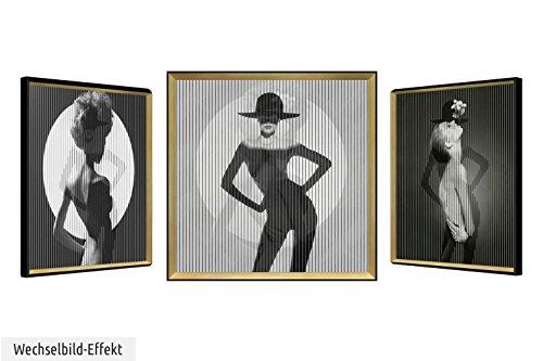 KunstLoft® cuadro lenticular 3D 'Roaring Twenties' 83x83cm   Cuadro hecho a mano con aspecto vintage   Mujer años 20 shooting moda   Imagen pared lenticular con marco