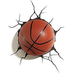 3D Light FX - Lámpara de pared en forma de balón de baloncesto de plástico, color naranja y negro