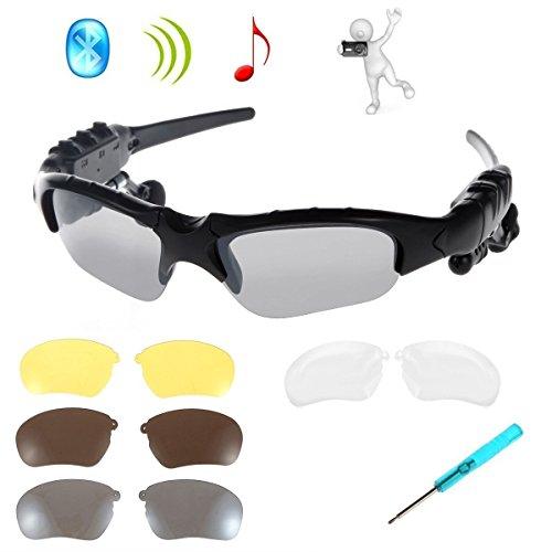 Drahtlose Kopfhörer Sonnenbrille,KINGCOO Sport Bluetooth Musik Headset Kopfhörer für iPhone 7/7 Plus Samsung Bluetooth-Geräte + Gratis Austauschbare 3 Paar Objektiv (Schwarz)