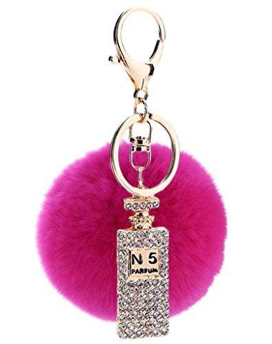 Sumolux Schlüsselanhänger Taschenanhänger Geburtstagsgeschenk mit Plüsch Kugel Ornament Rosa