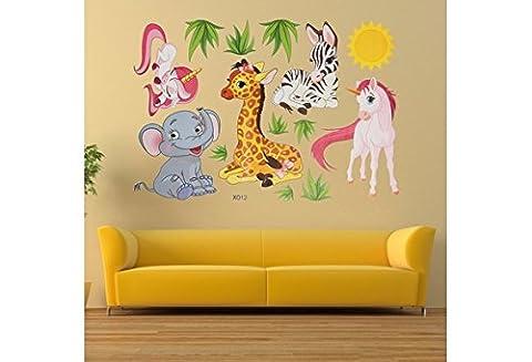 Wandtattoo Kinderzimmer Einhorn Tiere Zoo Elefant Zebra Kinder Babyzimmer Wandaufkleber Wandsticker Baby Mädchen Junge