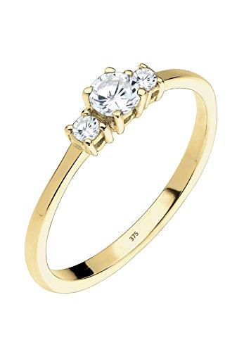 Elli Premium Damen Stapelring 375 Gelbgold 925 Sterling Silber Zirkonia weiß Brillantschliff Gr.58 (18,5) 0606760115_58