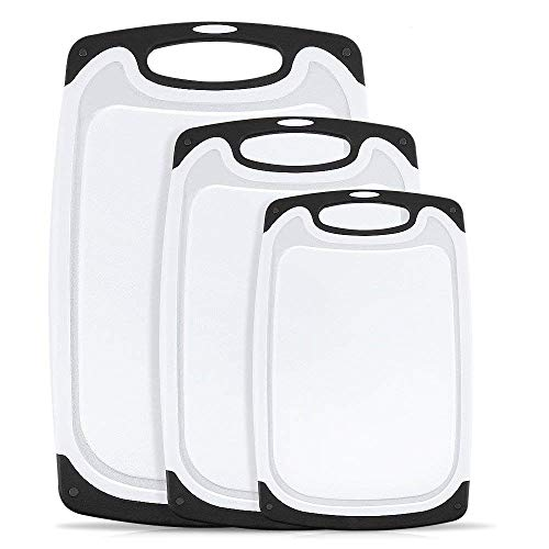 Küchenschneiden Board 3 Stück Plastikschneiden Board Non-Dip-Feet und Deep Drip Tank Easy Grip No BPA No Holes Dishwasher Safe Deep Dip