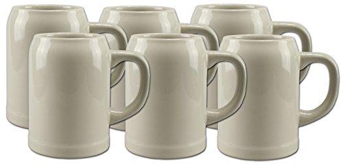 Feinsteinzeug-einsätze (6 Bierkrüge Humpen 0,5L Steinkrug ohne Füllmarke)