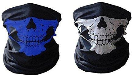 2x Premium Multifunktionstuch | Sturmmaske | Bandana | Schlauchtuch | Halstuch mit Totenkopf- Skelettmasken für Motorrad Fahrrad Ski Paintball Gamer Karneval Kostüm Skull Maske (Blau/Weiß)