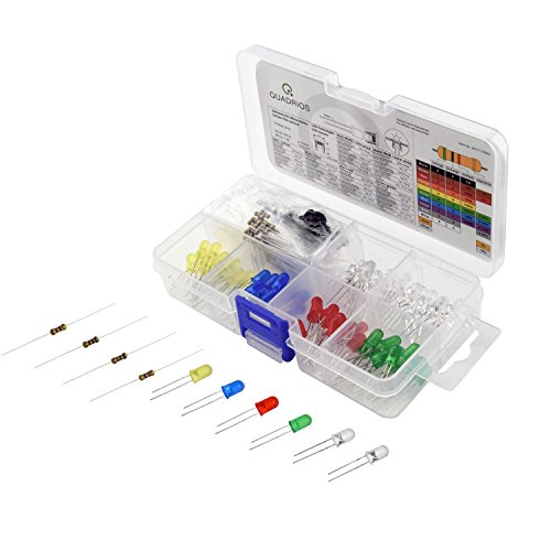 QUADRIOS GmbH LED superhell 5 mm Leuchtdioden Sortiment Set mit Vorwiderständen und Dokumentation...
